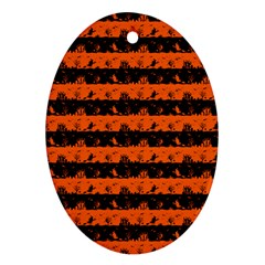 Orange And Black Spooky Halloween Nightmare Stripes Oval Ornament (two Sides) by PodArtist
