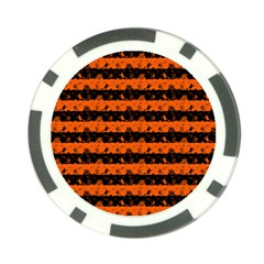 Orange And Black Spooky Halloween Nightmare Stripes Poker Chip Card Guard (10 Pack)
