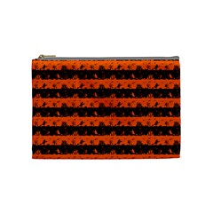 Orange And Black Spooky Halloween Nightmare Stripes Cosmetic Bag (medium)