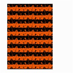 Orange And Black Spooky Halloween Nightmare Stripes Small Garden Flag (two Sides)