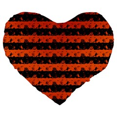 Orange And Black Spooky Halloween Nightmare Stripes Large 19  Premium Heart Shape Cushions by PodArtist