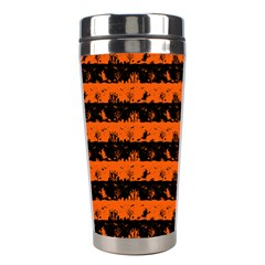 Orange And Black Spooky Halloween Nightmare Stripes Stainless Steel Travel Tumblers by PodArtist