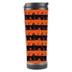 Orange And Black Spooky Halloween Nightmare Stripes Travel Tumbler by PodArtist