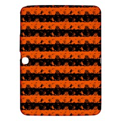Orange And Black Spooky Halloween Nightmare Stripes Samsung Galaxy Tab 3 (10 1 ) P5200 Hardshell Case  by PodArtist