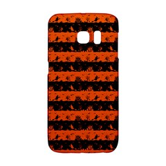 Orange And Black Spooky Halloween Nightmare Stripes Samsung Galaxy S6 Edge Hardshell Case by PodArtist