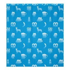 Oktoberfest Bavarian October Beer Festival Motifs In Bavarian Blue Shower Curtain 66  X 72  (large)