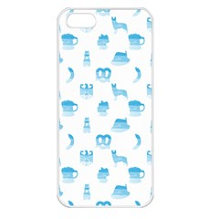 Oktoberfest Bavarian October Beer Festival Motifs In Bavarian Blue Apple Iphone 5 Seamless Case (white) by PodArtist