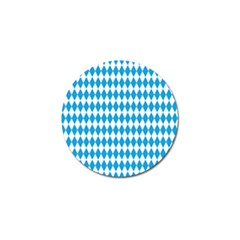 Oktoberfest Bavarian Blue And White Large Diagonal Diamond Pattern Golf Ball Marker (10 Pack) by PodArtist
