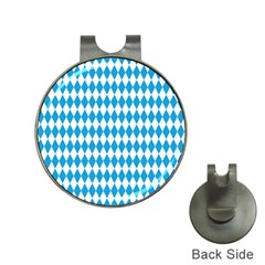 Oktoberfest Bavarian Blue And White Large Diagonal Diamond Pattern Hat Clips With Golf Markers by PodArtist