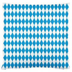Oktoberfest Bavarian Blue And White Large Diagonal Diamond Pattern Large Cushion Case (two Sides) by PodArtist