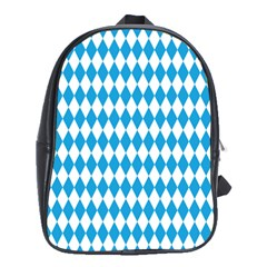 Oktoberfest Bavarian Blue And White Large Diagonal Diamond Pattern School Bag (xl) by PodArtist