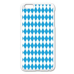 Oktoberfest Bavarian Blue And White Large Diagonal Diamond Pattern Apple Iphone 6 Plus/6s Plus Enamel White Case by PodArtist
