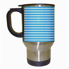Oktoberfest Bavarian Blue And White Small Diagonal Diamond Pattern Travel Mugs (white) by PodArtist