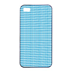 Oktoberfest Bavarian Blue And White Small Diagonal Diamond Pattern Apple Iphone 4/4s Seamless Case (black) by PodArtist