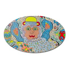Cosmic Moon Angel Oval Magnet