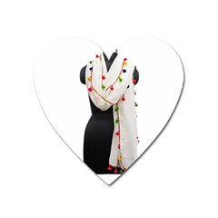 Indiahandycrfats Women Fashion White Dupatta With Multicolour Pompom All Four Sides For Girls/women Heart Magnet by Indianhandycrafts