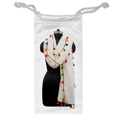 Indiahandycrfats Women Fashion White Dupatta With Multicolour Pompom All Four Sides For Girls/women Jewelry Bag by Indianhandycrafts