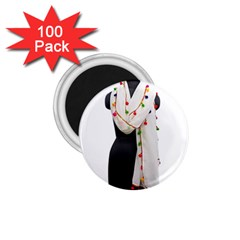 Indiahandycrfats Women Fashion White Dupatta With Multicolour Pompom All Four Sides For Girls/women 1 75  Magnets (100 Pack)  by Indianhandycrafts