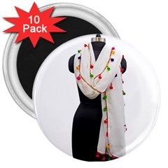 Indiahandycrfats Women Fashion White Dupatta With Multicolour Pompom All Four Sides For Girls/women 3  Magnets (10 Pack)  by Indianhandycrafts