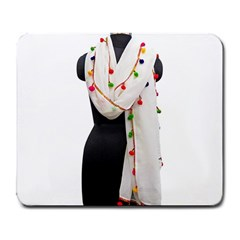 Indiahandycrfats Women Fashion White Dupatta With Multicolour Pompom All Four Sides For Girls/women Large Mousepads by Indianhandycrafts