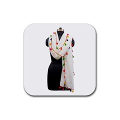 Indiahandycrfats Women Fashion White Dupatta With Multicolour Pompom All Four Sides For Girls/women Rubber Coaster (square)  by Indianhandycrafts