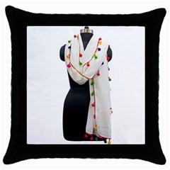 Indiahandycrfats Women Fashion White Dupatta With Multicolour Pompom All Four Sides For Girls/women Throw Pillow Case (black) by Indianhandycrafts