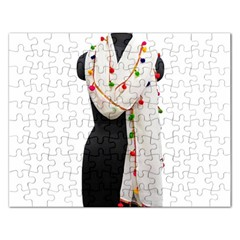 Indiahandycrfats Women Fashion White Dupatta With Multicolour Pompom All Four Sides For Girls/women Rectangular Jigsaw Puzzl by Indianhandycrafts