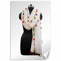 Indiahandycrfats Women Fashion White Dupatta With Multicolour Pompom All Four Sides For Girls/women Canvas 12  X 18  by Indianhandycrafts