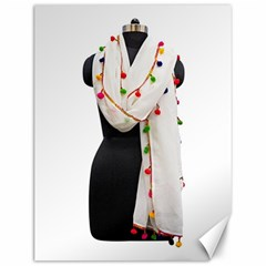 Indiahandycrfats Women Fashion White Dupatta With Multicolour Pompom All Four Sides For Girls/women Canvas 12  X 16  by Indianhandycrafts
