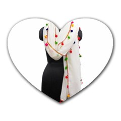 Indiahandycrfats Women Fashion White Dupatta With Multicolour Pompom All Four Sides For Girls/women Heart Mousepads by Indianhandycrafts