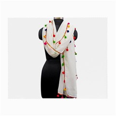 Indiahandycrfats Women Fashion White Dupatta With Multicolour Pompom All Four Sides For Girls/women Small Glasses Cloth (2 Side) by Indianhandycrafts