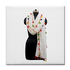 Indiahandycrfats Women Fashion White Dupatta With Multicolour Pompom All Four Sides For Girls/women Face Towel by Indianhandycrafts