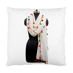 Indiahandycrfats Women Fashion White Dupatta With Multicolour Pompom All Four Sides For Girls/women Standard Cushion Case (one Side) by Indianhandycrafts