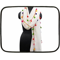 Indiahandycrfats Women Fashion White Dupatta With Multicolour Pompom All Four Sides For Girls/women Double Sided Fleece Blanket (mini)  by Indianhandycrafts