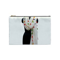 Indiahandycrfats Women Fashion White Dupatta With Multicolour Pompom All Four Sides For Girls/women Cosmetic Bag (medium) by Indianhandycrafts