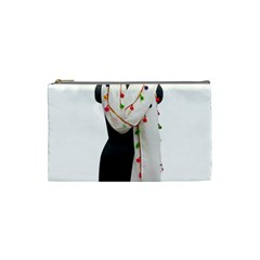 Indiahandycrfats Women Fashion White Dupatta With Multicolour Pompom All Four Sides For Girls/women Cosmetic Bag (small) by Indianhandycrafts