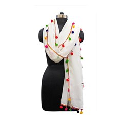 Indiahandycrfats Women Fashion White Dupatta With Multicolour Pompom All Four Sides For Girls/women Memory Card Reader (rectangular) by Indianhandycrafts
