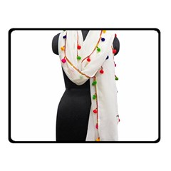 Indiahandycrfats Women Fashion White Dupatta With Multicolour Pompom All Four Sides For Girls/women Fleece Blanket (small) by Indianhandycrafts
