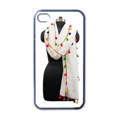 Indiahandycrfats Women Fashion White Dupatta With Multicolour Pompom All Four Sides For Girls/women Apple Iphone 4 Case (black) by Indianhandycrafts