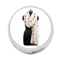 Indiahandycrfats Women Fashion White Dupatta With Multicolour Pompom All Four Sides For Girls/women 4 Port Usb Hub (two Sides) by Indianhandycrafts