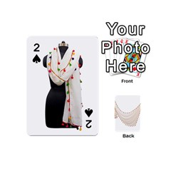 Indiahandycrfats Women Fashion White Dupatta With Multicolour Pompom All Four Sides For Girls/women Playing Cards 54 (mini) by Indianhandycrafts