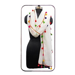 Indiahandycrfats Women Fashion White Dupatta With Multicolour Pompom All Four Sides For Girls/women Apple Iphone 4/4s Seamless Case (black) by Indianhandycrafts