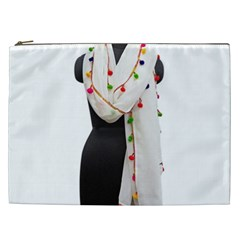 Indiahandycrfats Women Fashion White Dupatta With Multicolour Pompom All Four Sides For Girls/women Cosmetic Bag (xxl) by Indianhandycrafts