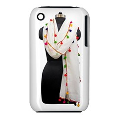 Indiahandycrfats Women Fashion White Dupatta With Multicolour Pompom All Four Sides For Girls/women Iphone 3s/3gs by Indianhandycrafts