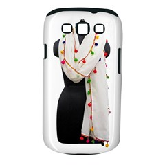Indiahandycrfats Women Fashion White Dupatta With Multicolour Pompom All Four Sides For Girls/women Samsung Galaxy S Iii Classic Hardshell Case (pc+silicone) by Indianhandycrafts