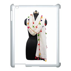 Indiahandycrfats Women Fashion White Dupatta With Multicolour Pompom All Four Sides For Girls/women Apple Ipad 3/4 Case (white) by Indianhandycrafts