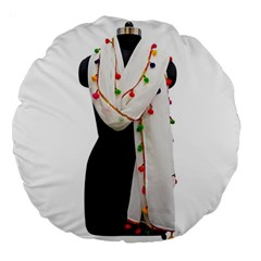 Indiahandycrfats Women Fashion White Dupatta With Multicolour Pompom All Four Sides For Girls/women Large 18  Premium Round Cushions by Indianhandycrafts