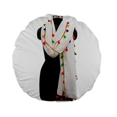 Indiahandycrfats Women Fashion White Dupatta With Multicolour Pompom All Four Sides For Girls/women Standard 15  Premium Round Cushions by Indianhandycrafts