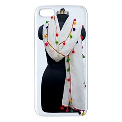 Indiahandycrfats Women Fashion White Dupatta With Multicolour Pompom All Four Sides For Girls/women Apple Iphone 5 Premium Hardshell Case by Indianhandycrafts