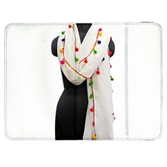 Indiahandycrfats Women Fashion White Dupatta With Multicolour Pompom All Four Sides For Girls/women Samsung Galaxy Tab 7  P1000 Flip Case by Indianhandycrafts